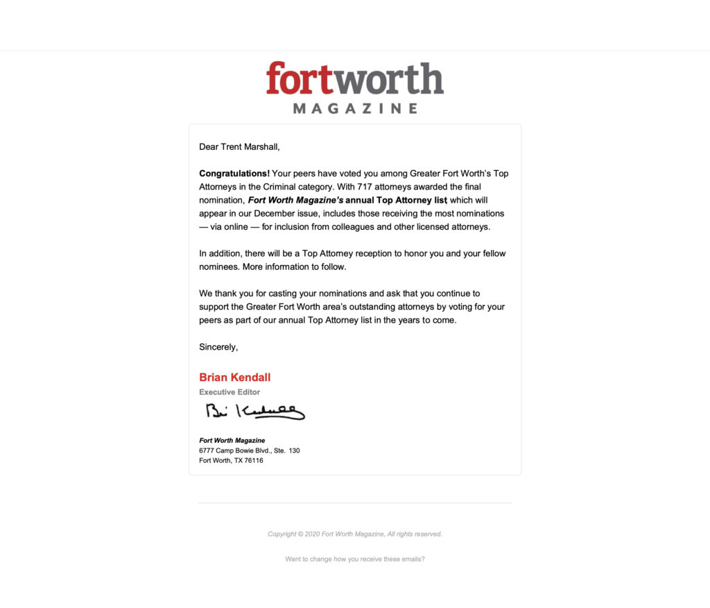 Fort Worth Texas Top Attorney